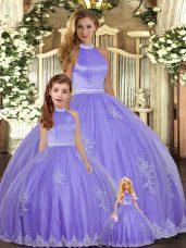 Modern Floor Length Lavender 15 Quinceanera Dress Halter Top Sleeveless Backless