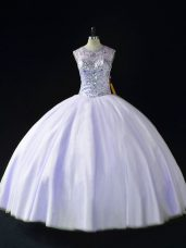 Cute Lavender Lace Up Ball Gown Prom Dress Beading Sleeveless Floor Length