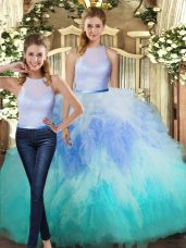 Inexpensive Floor Length Two Pieces Sleeveless Multi-color Sweet 16 Dress Backless