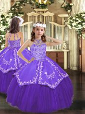 Glorious Tulle Halter Top Sleeveless Lace Up Beading and Embroidery Pageant Dress Toddler in Purple