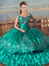 Turquoise Sleeveless Satin Lace Up Sweet 16 Dresses for Sweet 16 and Quinceanera