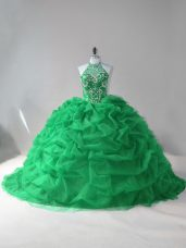 Beauteous Green Ball Gowns Halter Top Sleeveless Tulle Court Train Lace Up Beading and Pick Ups Quinceanera Gown