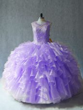 Nice Organza Sleeveless Floor Length Sweet 16 Dresses and Beading and Ruffles