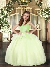 Trendy Yellow Green Ball Gowns Organza Straps Sleeveless Beading Floor Length Lace Up Little Girls Pageant Dress Wholesale