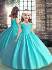Perfect Sleeveless Beading and Ruching Lace Up Pageant Dresses