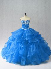 Customized Sleeveless Organza Floor Length Lace Up Quince Ball Gowns in Blue with Beading and Ruffles