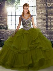 Custom Design Olive Green Lace Up Straps Beading and Ruffles Sweet 16 Dresses Tulle Sleeveless