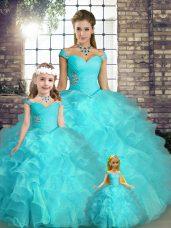 Low Price Beading and Ruffles Sweet 16 Dresses Aqua Blue Lace Up Sleeveless Floor Length