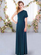 Pretty Ruching Dama Dress for Quinceanera Teal Criss Cross Sleeveless Floor Length