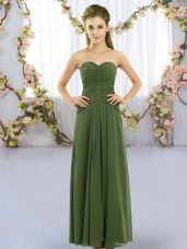 Fitting Sleeveless Floor Length Ruching Lace Up Damas Dress with Dark Green