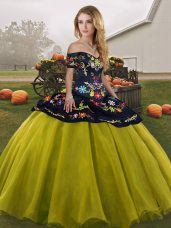 Deluxe Floor Length Ball Gowns Sleeveless Olive Green Quinceanera Gown Lace Up