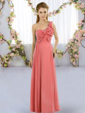 Simple One Shoulder Sleeveless Wedding Guest Dresses Floor Length Hand Made Flower Watermelon Red Chiffon