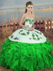 Green Ball Gowns Organza Sweetheart Sleeveless Embroidery and Ruffles and Bowknot Floor Length Lace Up Quinceanera Gown