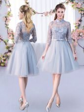 Half Sleeves Tulle Knee Length Lace Up Wedding Party Dress in Grey with Lace and Belt