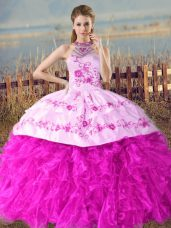 Fuchsia Sleeveless Organza Court Train Lace Up Quinceanera Gown for Sweet 16 and Quinceanera