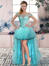 Aqua Blue Off The Shoulder Neckline Beading and Ruffles Pageant Dress for Girls Sleeveless Lace Up