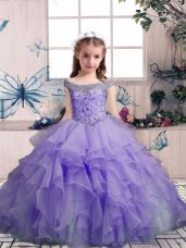 Ball Gowns Kids Formal Wear Lavender Off The Shoulder Organza Sleeveless Floor Length Lace Up