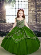 Green Lace Up Kids Formal Wear Beading and Embroidery Sleeveless Floor Length