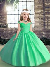 Sleeveless Tulle Floor Length Lace Up Pageant Dress in Apple Green with Beading