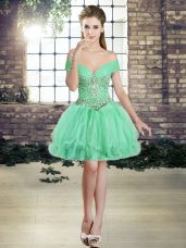 Glamorous Apple Green Ball Gowns Tulle Off The Shoulder Sleeveless Beading and Ruffles Mini Length Lace Up Junior Homecoming Dress