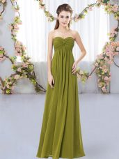 Sleeveless Zipper Floor Length Ruching Vestidos de Damas