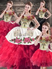 Attractive Sleeveless Lace Up Floor Length Embroidery and Ruffles Sweet 16 Quinceanera Dress