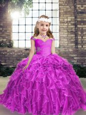 Straps Sleeveless Little Girls Pageant Dress Wholesale Floor Length Beading and Ruffles Fuchsia Organza