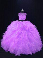 Nice Lavender Organza Zipper Quinceanera Dress Sleeveless Floor Length Beading and Ruffles