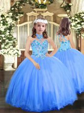 Attractive Halter Top Sleeveless Lace Up Little Girl Pageant Gowns Blue Tulle
