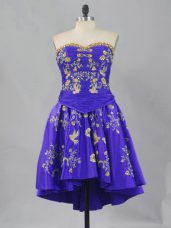 Elegant Sweetheart Sleeveless Lace Up Embroidery Prom Dress in Purple