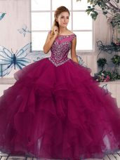 Fuchsia Ball Gowns Organza Scoop Sleeveless Beading and Ruffles Floor Length Zipper Ball Gown Prom Dress