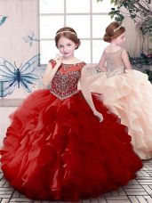 New Style Red Ball Gowns Scoop Sleeveless Organza Floor Length Zipper Beading and Ruffles Little Girls Pageant Dress Wholesale