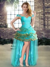 Traditional Aqua Blue Sleeveless Beading and Ruffled Layers High Low Teens Party Dress