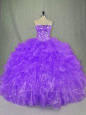Custom Designed Ball Gowns Quince Ball Gowns Purple Strapless Organza Sleeveless Floor Length Lace Up