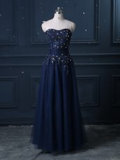 Tulle Sleeveless Floor Length and Lace