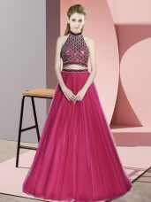 Hot Pink A-line Beading Prom Dress Backless Tulle Sleeveless