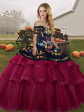Fuchsia Quinceanera Dress Tulle Brush Train Sleeveless Embroidery and Ruffled Layers