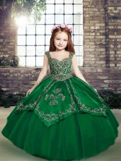 Dark Green Sleeveless Beading and Embroidery Floor Length Little Girls Pageant Gowns