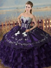 Modern Purple Sweetheart Lace Up Embroidery and Ruffles Quince Ball Gowns Sleeveless