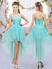 High Low Empire Sleeveless Aqua Blue Dama Dress for Quinceanera Lace Up