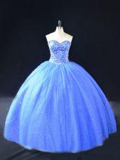 Unique Floor Length Blue 15 Quinceanera Dress Tulle Sleeveless Beading