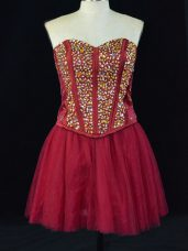 Pretty A-line Homecoming Gowns Wine Red Sweetheart Tulle Sleeveless Mini Length Lace Up