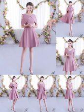 Scoop Half Sleeves Bridesmaid Dresses Mini Length Ruching Pink Chiffon