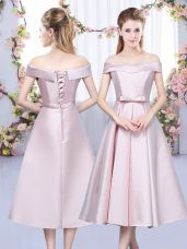 Baby Pink A-line Satin Off The Shoulder Sleeveless Bowknot Tea Length Lace Up Quinceanera Court of Honor Dress