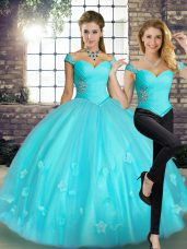 Hot Sale Off The Shoulder Sleeveless Lace Up Quince Ball Gowns Aqua Blue Tulle