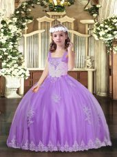 Beauteous Straps Sleeveless Lace Up Glitz Pageant Dress Lavender Tulle