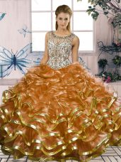 Traditional Brown Ball Gowns Scoop Sleeveless Organza Floor Length Lace Up Beading and Ruffles Quince Ball Gowns
