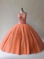 Pretty Orange Tulle Lace Up Scoop Sleeveless Floor Length Sweet 16 Quinceanera Dress Beading