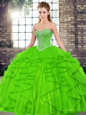 Ball Gowns Beading and Ruffles Vestidos de Quinceanera Lace Up Tulle Sleeveless Floor Length