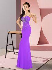Elegant Lavender Sleeveless Floor Length Beading Zipper Prom Party Dress